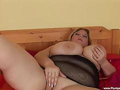 Juliana has a giant dildo shoved in her fat crotch!