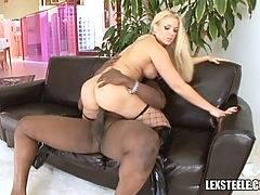 Black cock slut in action with a black cock