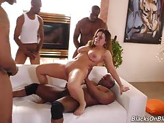 All three holes stuffed with massive amounts of black meat! In the end, Natasha is a jizzed-up mess: her ass and face were turned into cum targets, and she swallowed a couple big loads, too! Time for Natasha to check off `interracial gang bang` off her bu